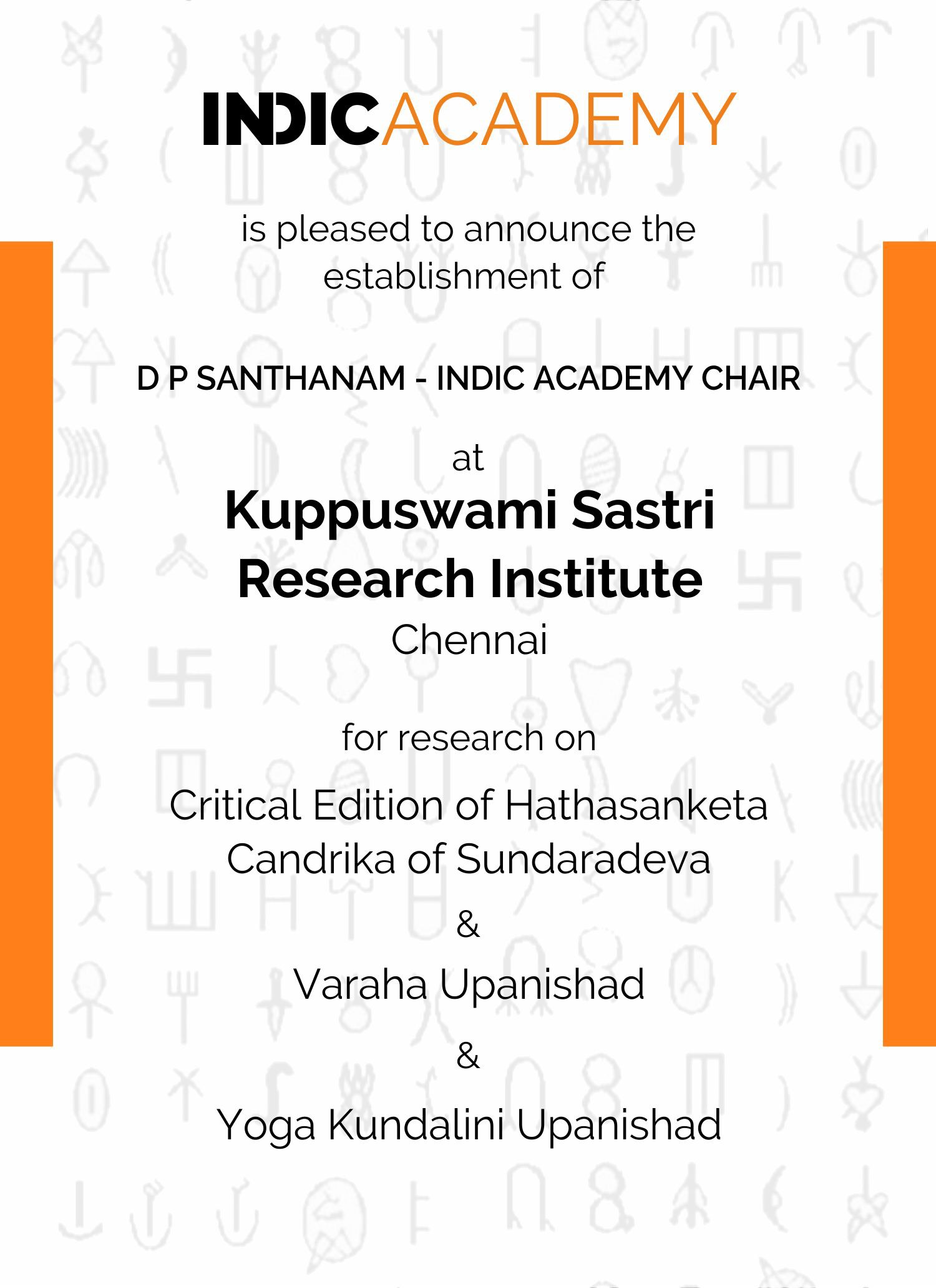 DP Santhanam- Indic Academy Chair at KSRI Chennai