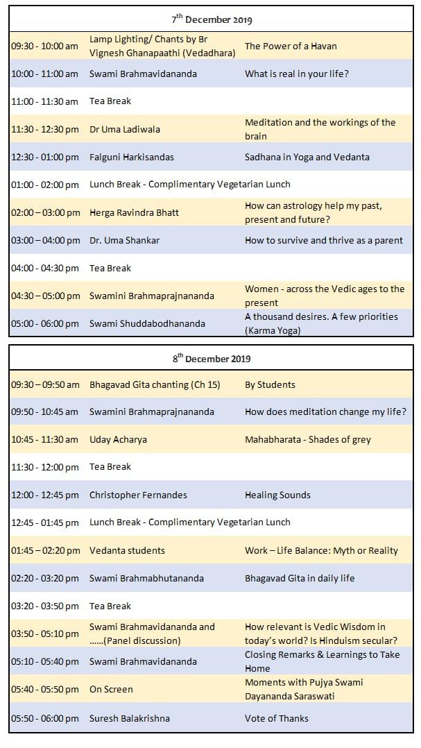 Vedic Wisdom Festival Schedule