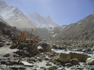 A small shrine at Gaumukh, Gangotri glacier, near source of the Ganga.